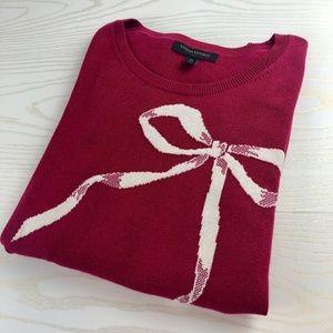 Banana Republic Bow Print Raspberry Light Sweater